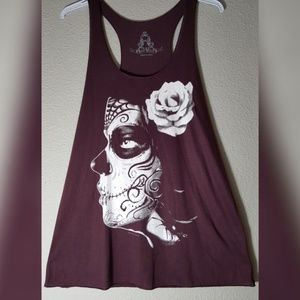Skull Rose Flower Tank Top NWOT